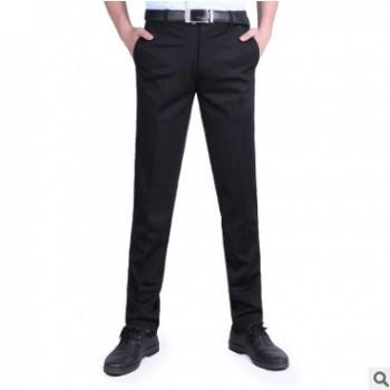 热销 2019新款夏季高弹男式休闲裤修身黑色商务直筒西裤 一件代发