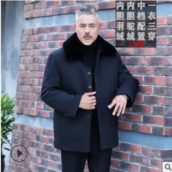 中老年羽绒服加厚大码外套爷爷可拆卸内胆棉袄爸爸装毛领尼克服男
