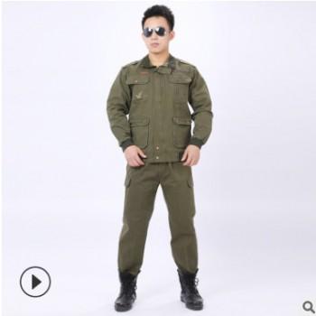 厂家直销纯棉加厚细斜纹军绿工作服套装劳保服电焊服车间汽修防烫