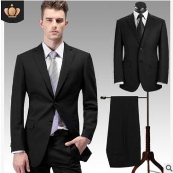 加大纯色两粒扣男士西服套装绅士正装职业上班婚礼新郎修身西装