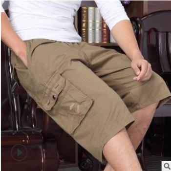 中老年夏装新品男士沙滩裤爸爸装纯色工装宽松休闲七分中裤肥佬裤