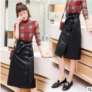 衣中仙2019秋季新款印花雪纺裙子显瘦女装个性简约半身裙配腰带