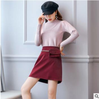 衣中仙2019秋季新款流苏绿色女装舒适拼色个性通勤宽松优雅半身裙