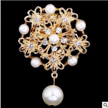 韩国衣饰品高档华丽珍珠两用丝巾扣三环胸针服装配饰厂家批发