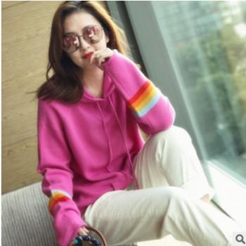 2019春季新款减龄彩虹袖针织衫女连帽大码卫衣中长款宽松针织毛衣
