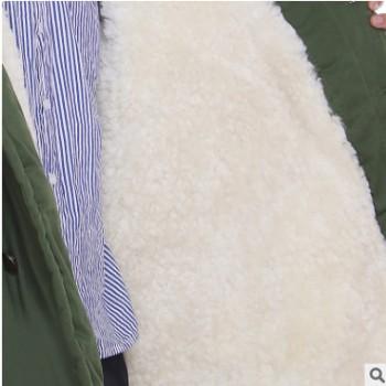冬季休闲保暖毛领寒区羊剪绒大衣加长加肥羊皮棉衣军大衣