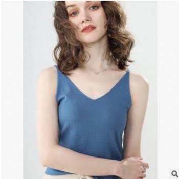 2019夏季新款吊带背心女内搭打底衫紧身外穿V领性感网红外搭针织