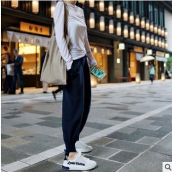 2018新款羊绒裤女外穿休闲高腰裤小脚宽松针织羊毛长裤韩版哈伦裤