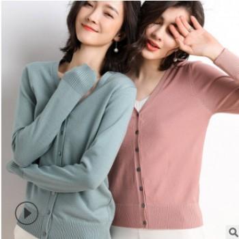 2019春夏新款女装韩版短款时尚针织开衫女纯色百搭修身潮一件代发