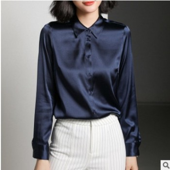 重磅真丝衬衫女长袖2019真丝女装桑蚕丝上衣复古气质修身衬衣