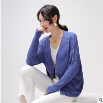 2019针织衫女夏季新款空调衫毛衣女绞丝开衫薄款纯色上衣一件代发