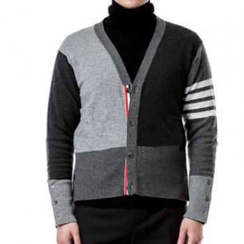 淘宝微商实体代理tb开衫三灰拼色羊绒圆领毛衣外套针织衫一件代发