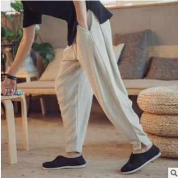 中国风国潮男装秋季休闲裤复古中式盘扣宽松哈伦裤小脚裤男长裤子