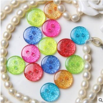树脂钮扣 珠光彩色糖果纽扣 儿童两眼面包扣 扣子 童装diy创意扣