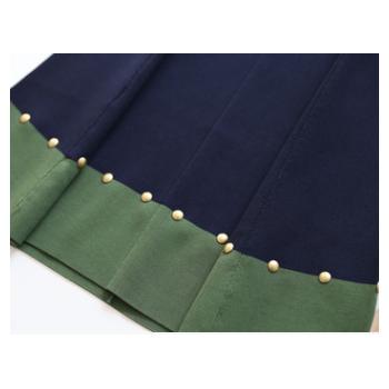 T@秋冬拼色时尚出街 裙摆铆钉扣设计针织连衣裙092610