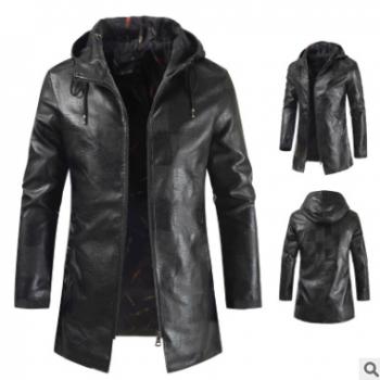 2019跨境亚马逊速卖通欧码皮衣外贸新款男士中长款皮衣夹克外套