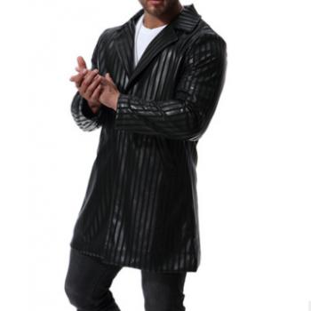 模特图 欧码2019跨境皮夹克秋季男士皮衣大码中长款PU西服外套
