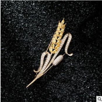 克罗帝韩版时尚OL金色麦穗胸针微镶锆石别针女气质礼服大衣配饰潮