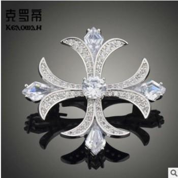 克罗帝欧美创意十字花胸针时尚微镶锆石珍珠别针男女通用爆款配饰
