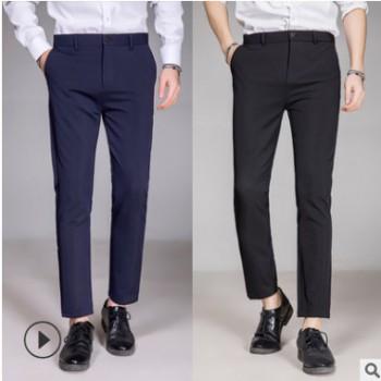 887 九分裤男士西裤男装新款修身休闲西服男式职业商务黑色西裤