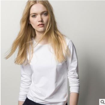 现货厂家批发19新款70支高密双面精梳丝光棉长袖圆领基本款t恤女