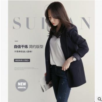 2018春装新款一粒扣休闲小西装通勤长袖修身女中长款西服显瘦外套