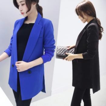 2018春装新款韩版气质修身中长款小西服女士休闲显瘦小西装女外套
