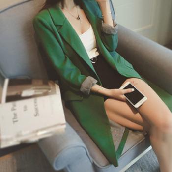 西装外套女中长款2018春季新款韩版休闲女装上衣春秋女士小西服女