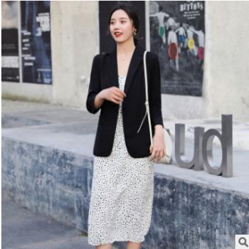 新款七分袖小西装外套女2019夏季时尚休闲短款薄款气质西装潮