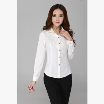 白衬衫女长袖职业装新款OL韩版修身女士上衣打底衬衫衬衣河南直销