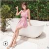 连体泳衣格子女士保守韩版荷叶边遮肚裙式泳衣女小清新成人游泳衣