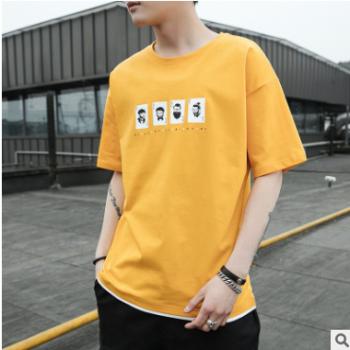 2019新款男士短袖t恤夏季韩版宽松假两件半袖体恤男潮流百搭小衫