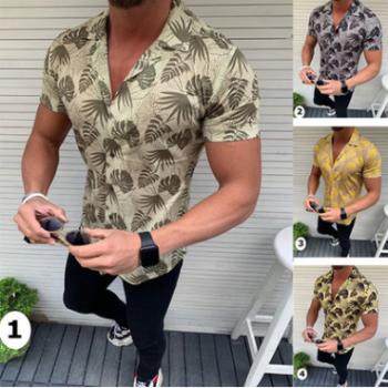 2019夏新款外贸男式短袖上衣沙滩风椰树叶印花时尚流行衬衫6027