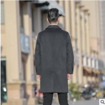 毛呢外套男双面羊绒保暖外套商务修身呢子男装翻领羊毛大衣中长款