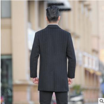 新款男式双面尼大衣韩版商务羊绒风衣中长款妮子外套条纹双面尼男