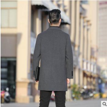 毛呢大衣男双面尼子羊毛外套秋冬中长款商务休闲男装双扣外套修身