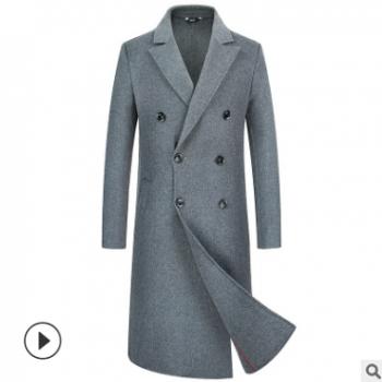 2018男士双面尼大衣男装毛呢大衣男式外套长款过膝羊毛绒上衣跨境
