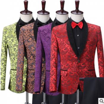 演出服两件套2019新款男士演出西装套装舞台歌手主持表演礼服定制