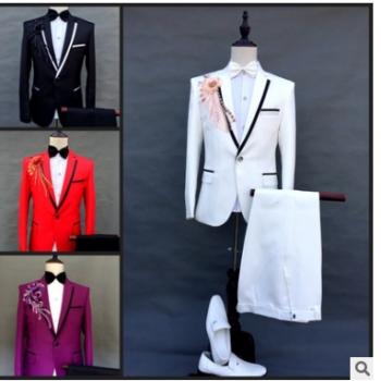 厂家直销2019新款男士西装套装新郎结婚礼服舞台主持人司仪演出服
