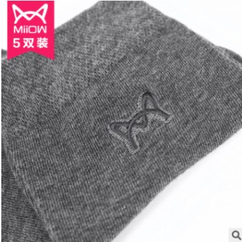 猫人袜子男短袜棉四季薄款袜子防臭运动休闲中筒春秋商务袜5双装