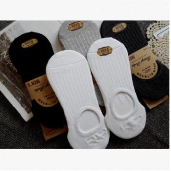 5双男士纯棉袜子硅胶不掉根防滑白色隐形袜低帮浅口微商一件代发