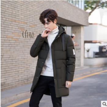 一件代销青年棉衣中长款时尚休闲男士棉服连帽韩版加厚男装棉袄