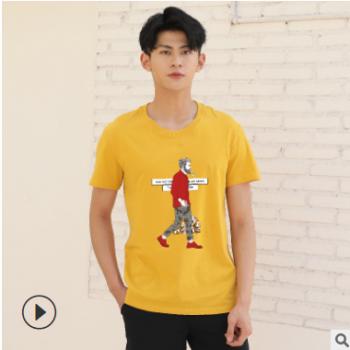 爆款夏季圆领T恤印字logo班服团体服定制欧美简单舒适休闲短袖男