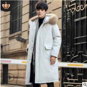 冬季新款羽绒服男中长款连帽外套韩版修身休闲男士加厚保暖男装潮