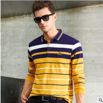 跨境男装秋冬长袖男式纯棉条纹T恤衫 青年翻领时尚商务休闲POLO衫