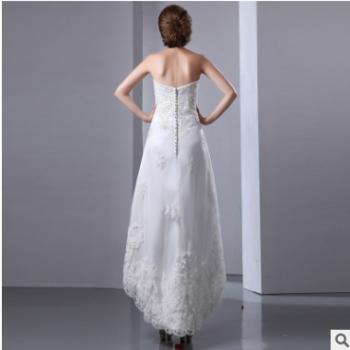 2107新款简约时尚抹胸婚纱礼服定制长短后长个性礼服裙女