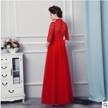 2018年新款长袖中式婚纱礼服蕾丝镶钻小立领中式婚纱礼服
