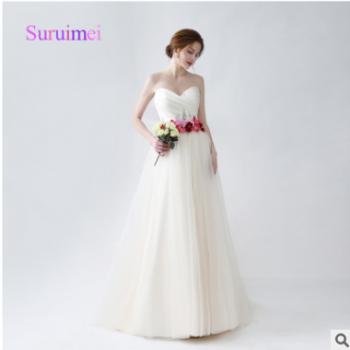 2018新款婚纱晚礼服新娘结婚长款拖地婚纱礼服齐地显瘦定制款