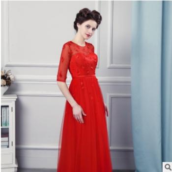 2018新款长袖绣花镶钻红色长礼服秋季宴会时尚晚礼服新娘敬酒服