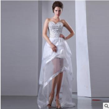 2018新款收腰显瘦婚纱礼服个性抹胸蕾丝亮钻定制款新娘婚纱